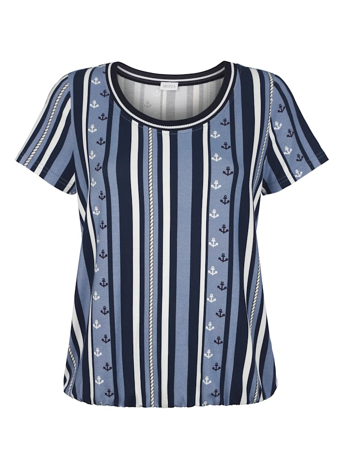 Shirt MONA Marine::Lichtblauw::Ecru