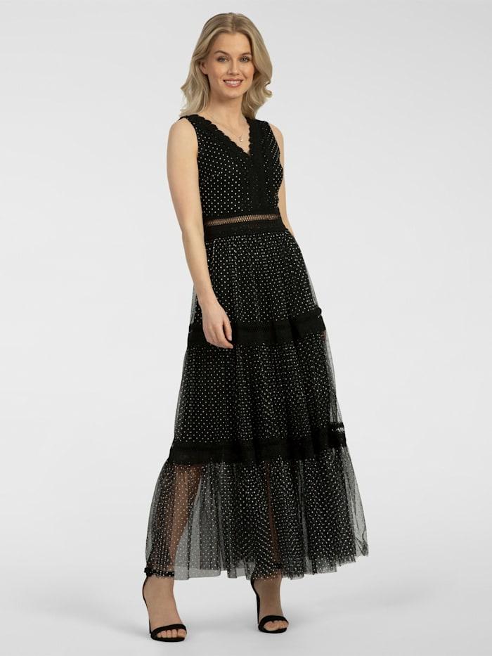 apart - Partykleid lang, aus Mesh mit Spitze  schwarz-weiss