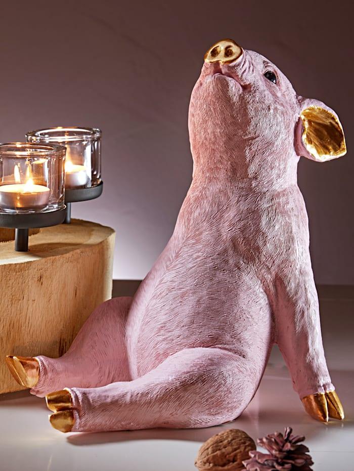 Dekorationsfigur Glücksschwein Kare Design rosa/gold