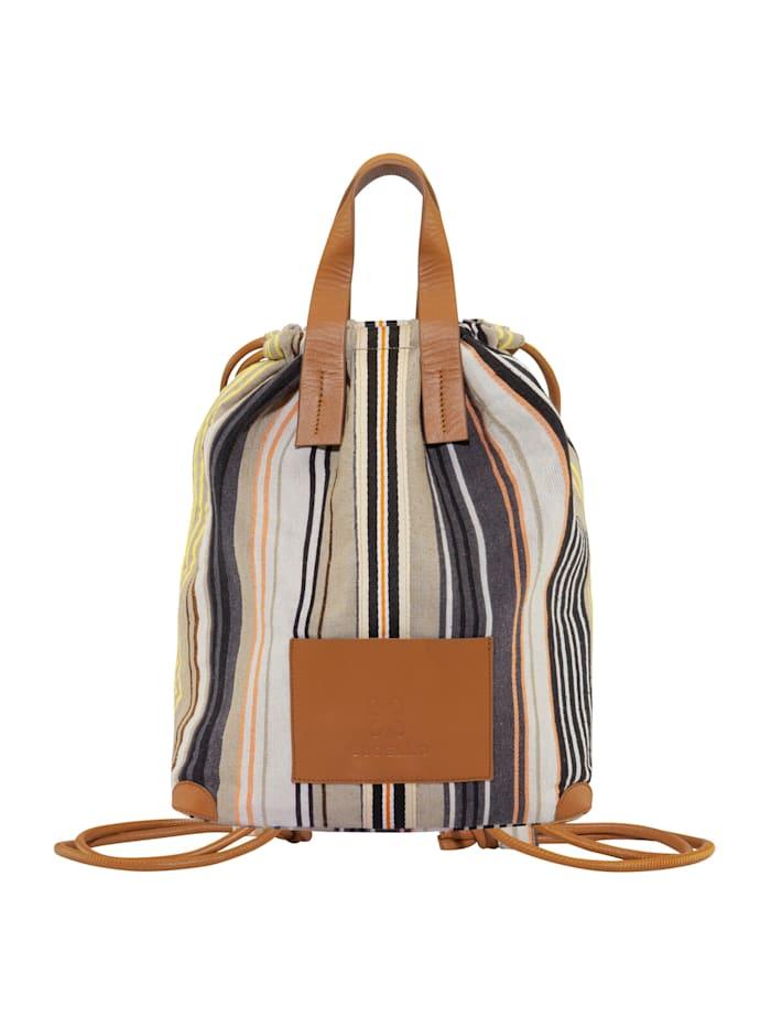 codello - Canvas-Rucksack mit schickem Streifen-Dessin  beige