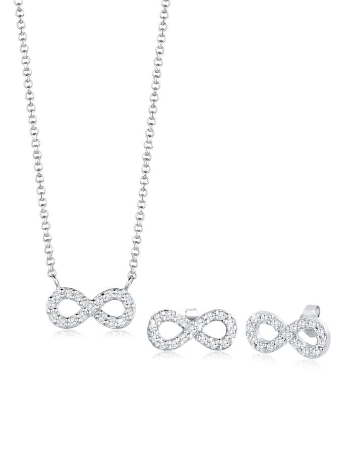 elli - Schmuckset Infinity Zirkonia 925 Sterling Silber  Weiß