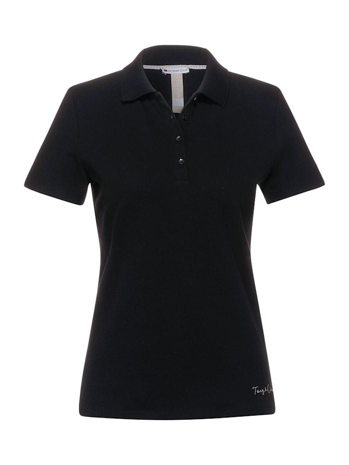 street one - Poloshirt in Unifarbe  Black