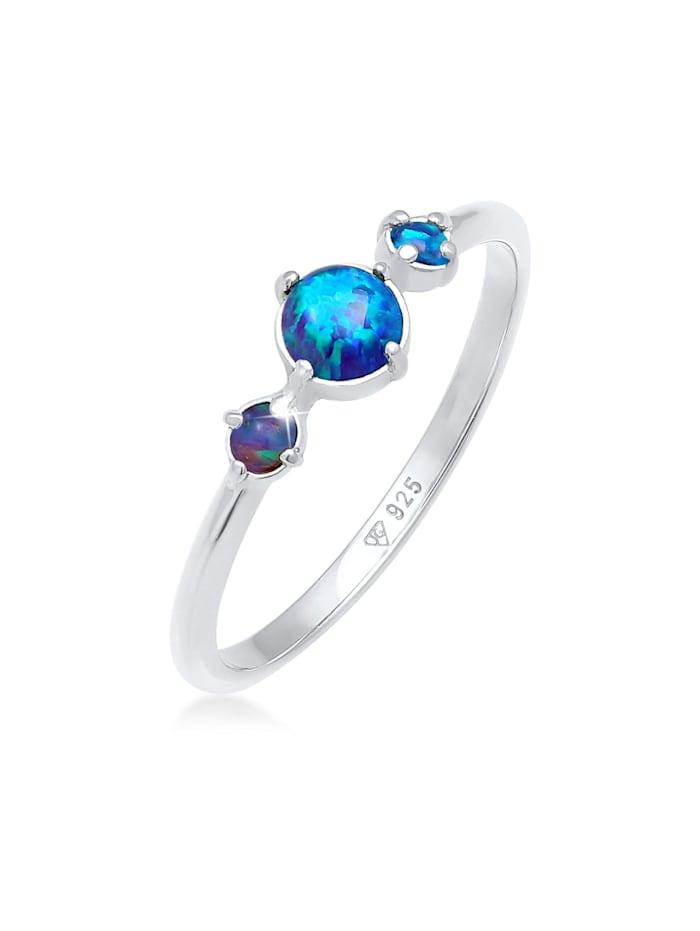 elli - Ring Trend Bandring Trio Geo Vintage Opale 925 Silber  Blau