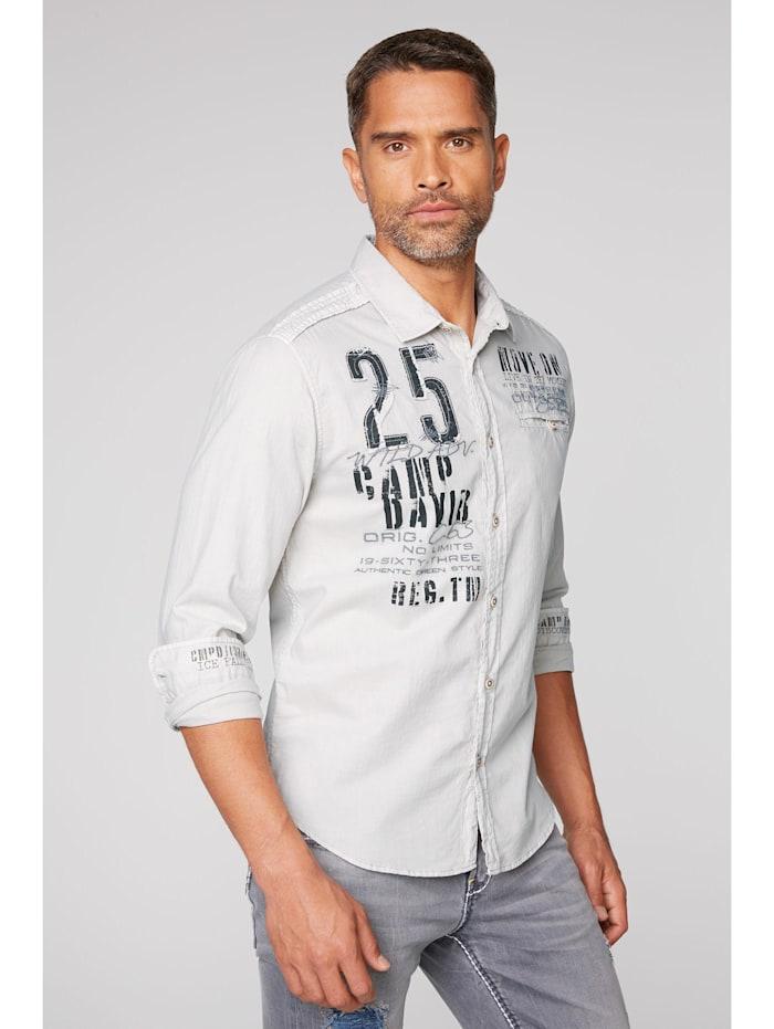 camp david - Hemd mit Webstreifen und Label-Applikationen  silvery