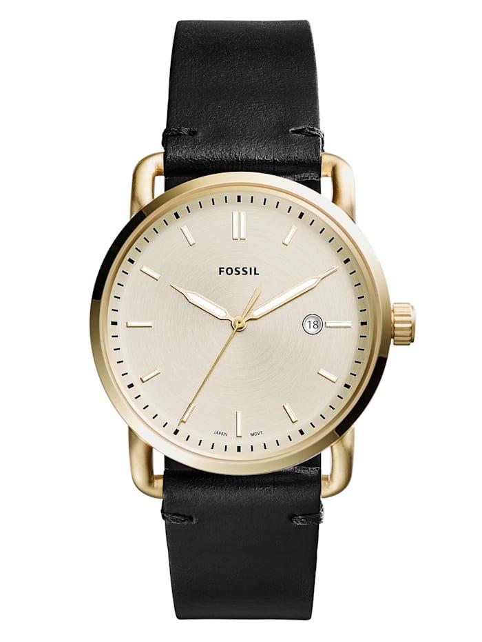 Artikel klicken und genauer betrachten! - Ein optimaler Weggefährte ist diese Armbanduhr von Fossil wird Ihrem Handgelenk sicher schmeicheln. Ein wahres Multi-Talent ist diese Armbanduhr denn sie verfügt über eine Datumsanzeige, ein Leuchtzeiger und eine Mittelsekunde. Hat ein schwarzes Bund-Armband aus Leder mit Dornschließe. Das runde, goldfarbene Gehäuse dieser eleganten Uhr wurde aus Edelstahl angefertigt und hat einen Durchmesser von 42 mm.   im Online Shop kaufen
