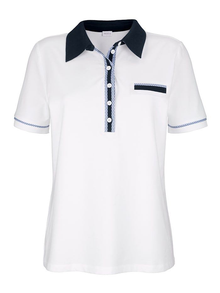 Poloshirt MONA Wit::Marine