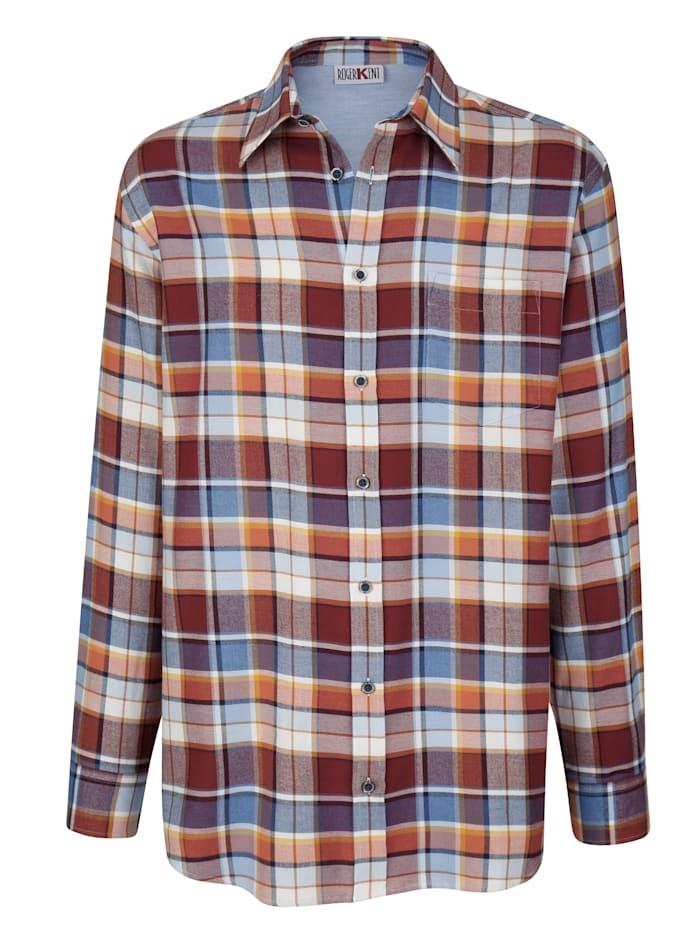 Overhemd Roger Kent Terracotta::Blauw::Bordeaux
