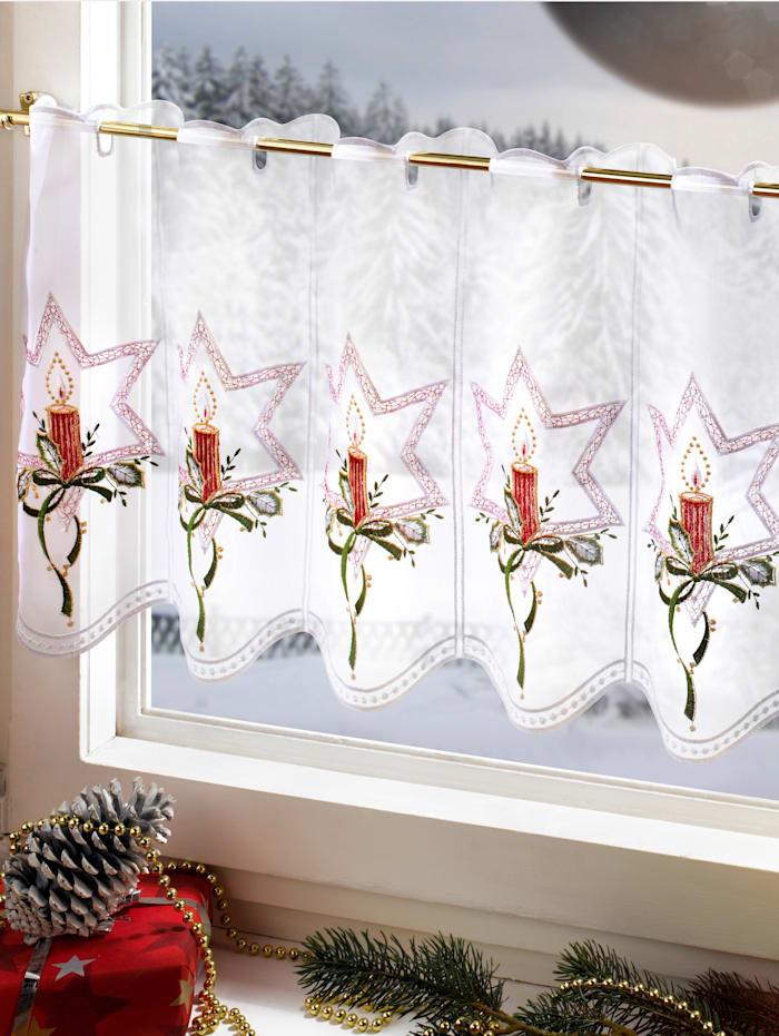 Scheibengardine, Kerzen Stickereien & Textilien bunt