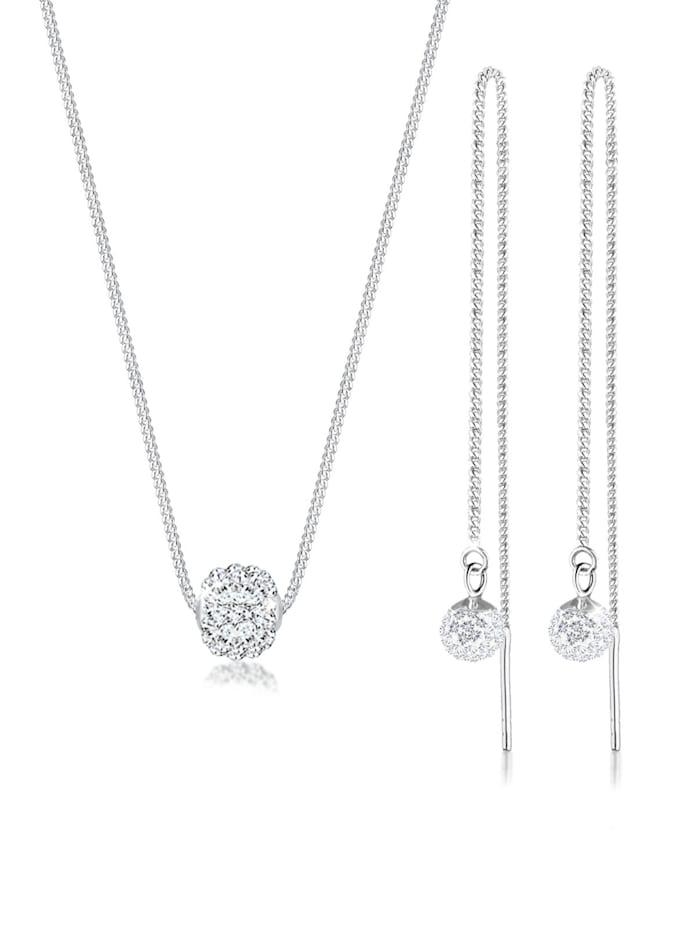 elli - Schmuckset Collier Hänger Swarovski® Kristalle 925 Silber  Silber