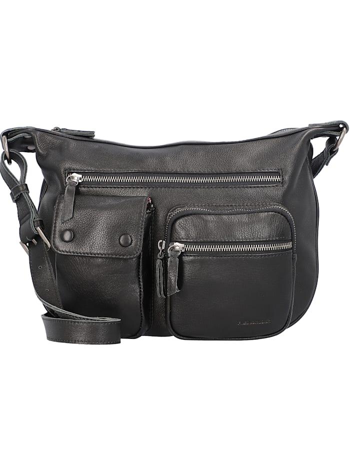 fredsbruder - Zippi Umhängetasche Leder 25 cm  black