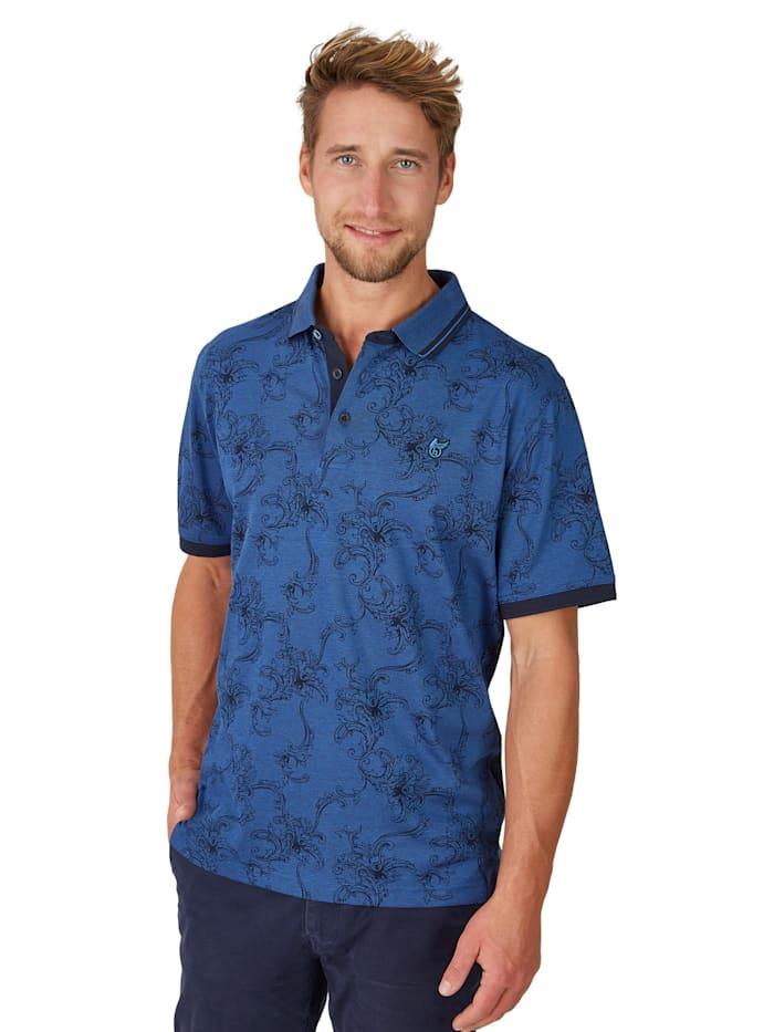 Pikee-Poloshirt mit tollem Alloverdruck Hajo marine