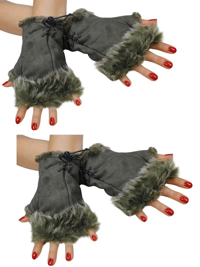 simone erto - Stulpen 2 Paar Hand-Stulpen 2 Paar kuschelige Handstulpen in Wildleder-Optik  khaki