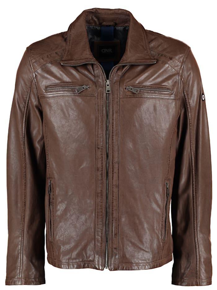 dnr jackets - Herren Lederjacke mit Taschen und Reißverschluss  Midle brown