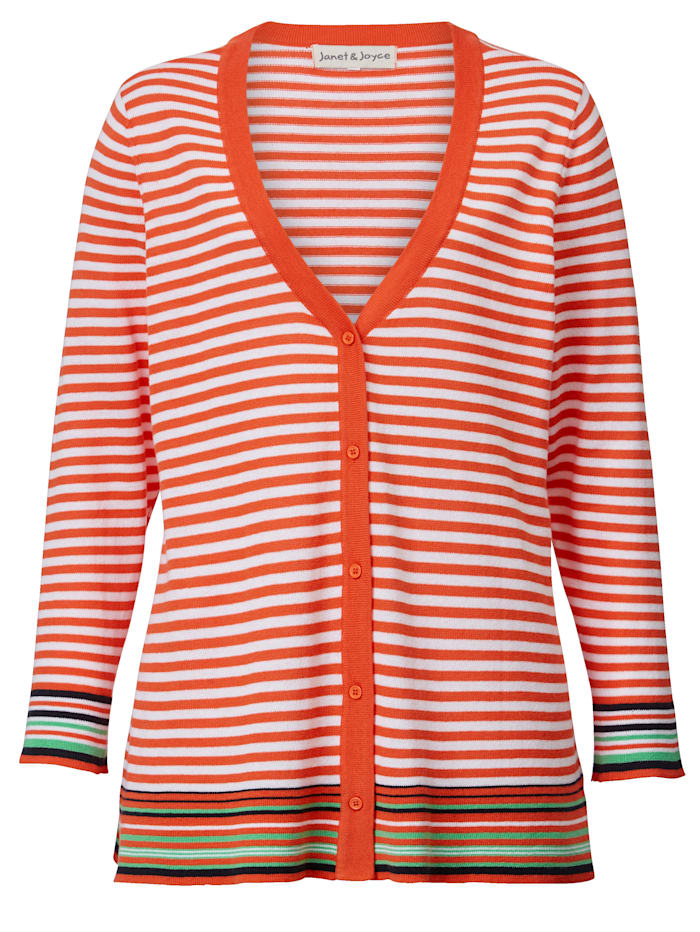 Strickjacke Janet & Joyce Orange::Weiß
