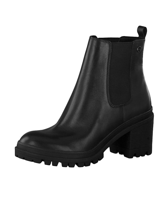 tamaris - 1-25417-23 001 Damen Stiefelette Chelsea Boot Leder Black Schwarz  Black