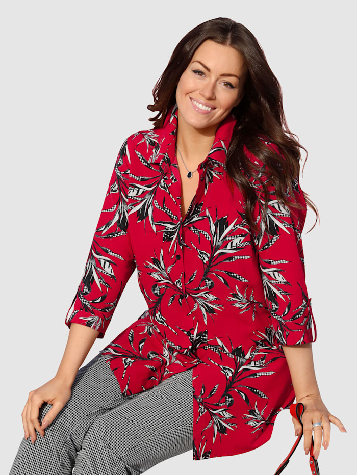 M. collection Blouse  Rood::Wit::Zwart