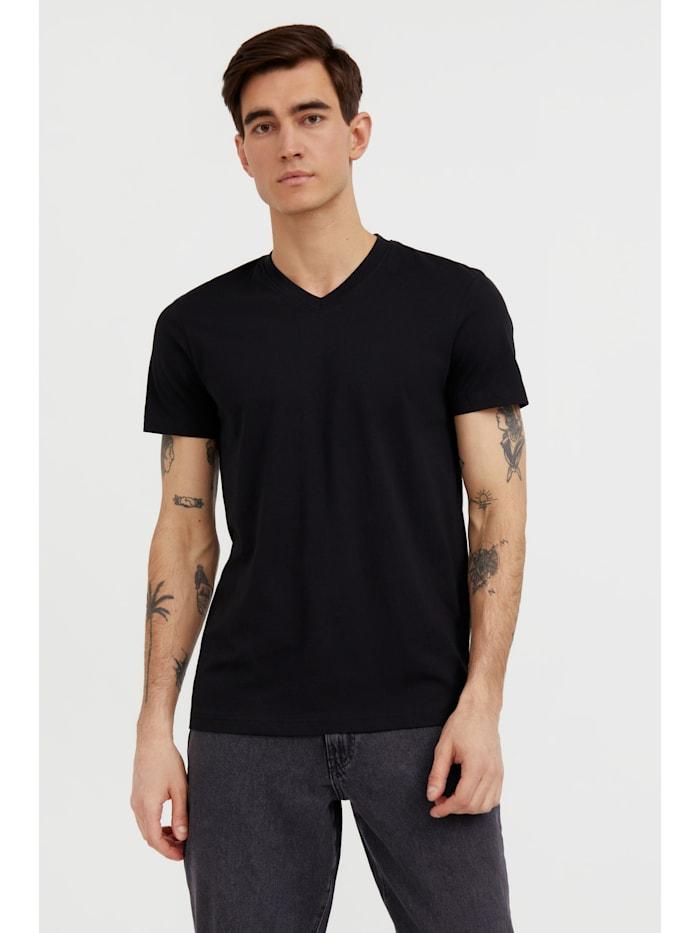 finn flare - Basic Shirt für Herren mit V-Ausschnitt  black