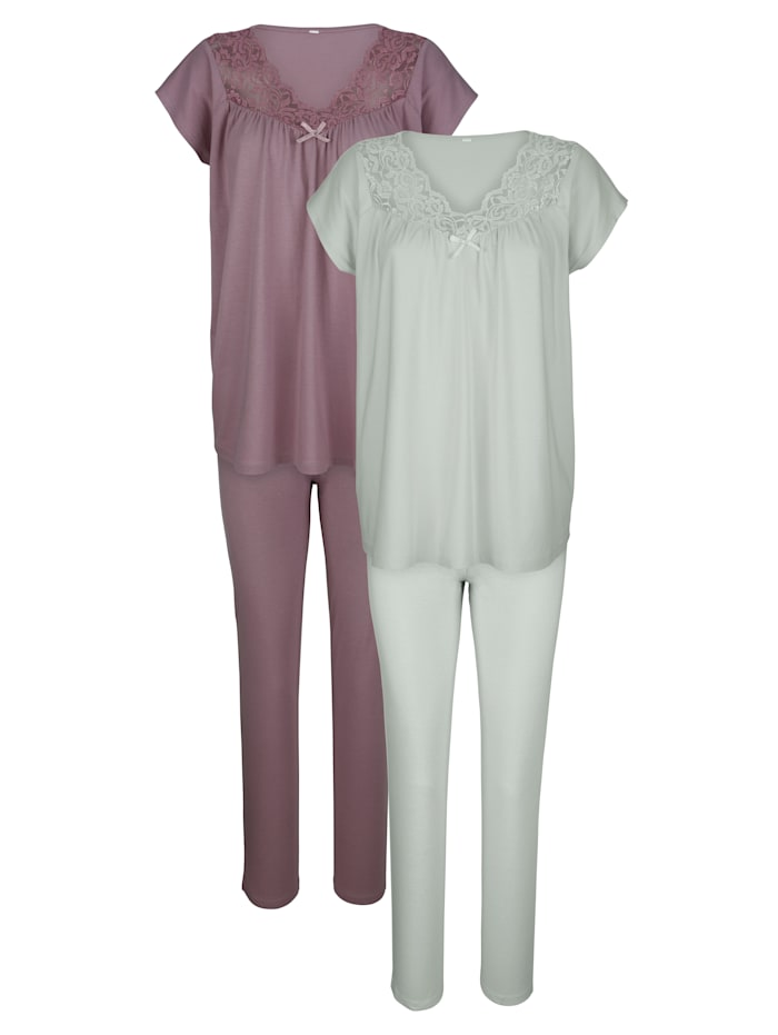 Pyjama's per 2 stuks Harmony Rozenhout::Jadegroen