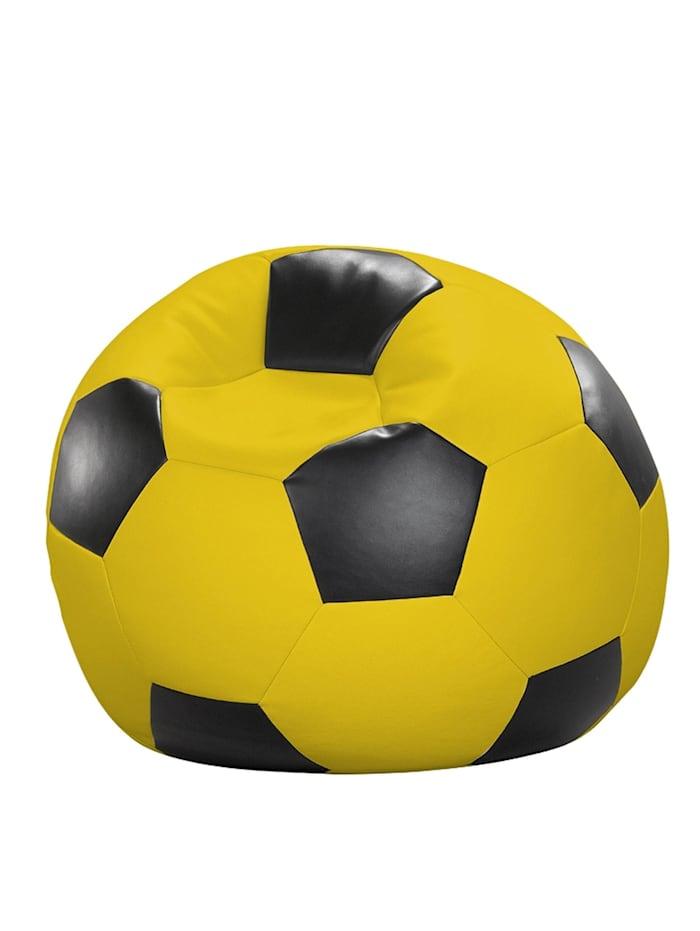 Fussball Sitzsack Sitzkissen Chillkissen Kunstleder Ø 90 cm Linke Licardo schwarz/gelb