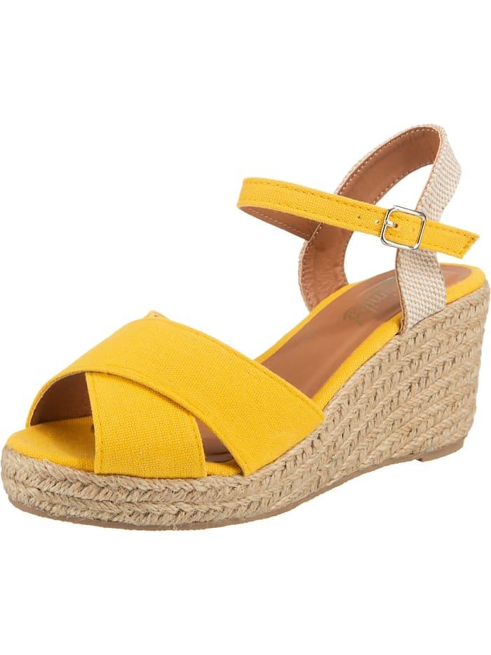 ambellis - Peeptoe-Sandalette mit Keilabsatz  gelb