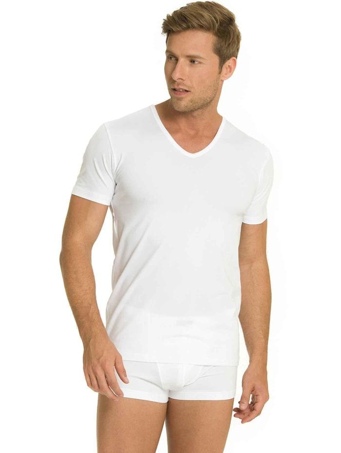 mey - T-Shirt mit V-Neck im Doppelpack  weiß
