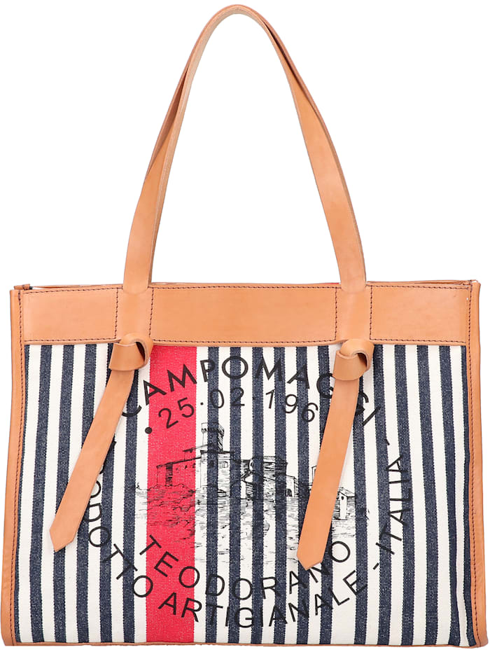 campomaggi - Shopper Tasche 38 cm  naturale-righe blu-rosso-st.nera