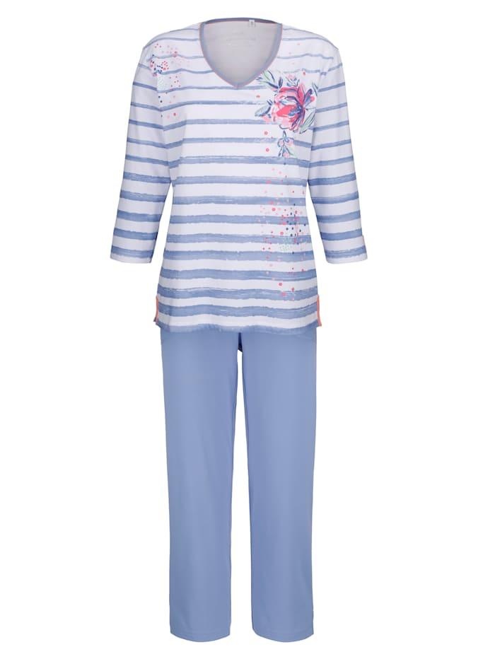 Schlafanzug Hajo bleu weiß