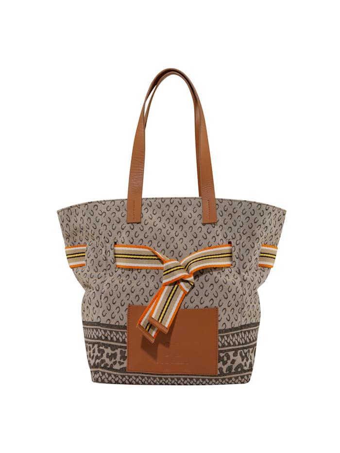 codello - Canvas-Shopper mit Logo-Print  beige
