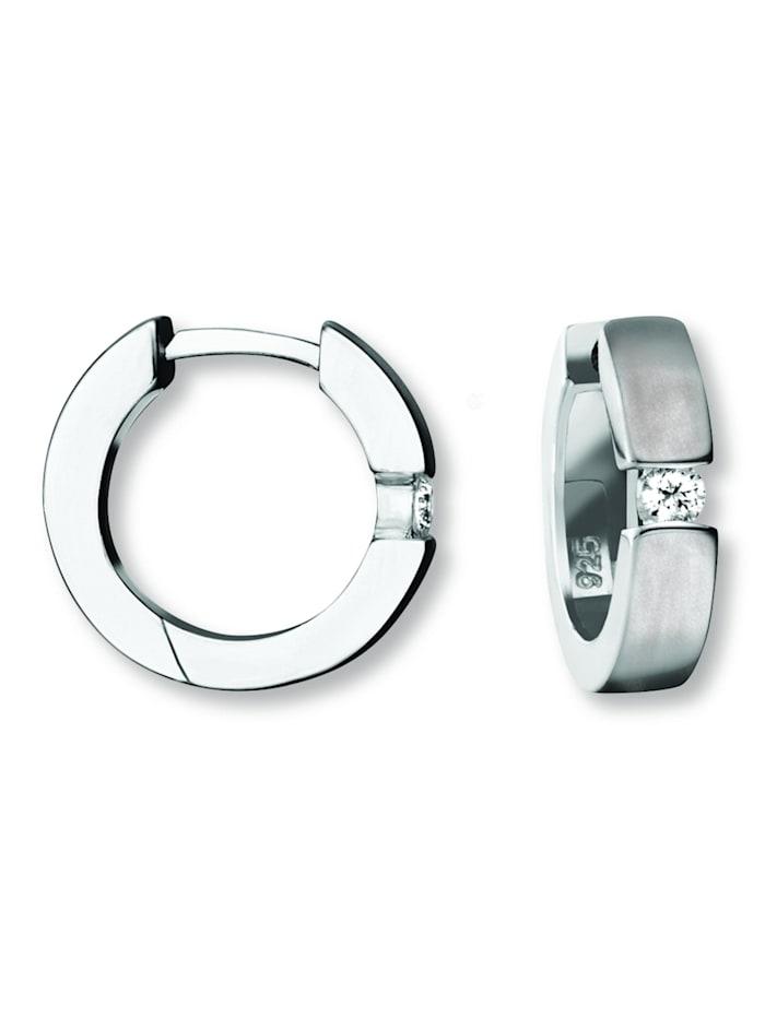 one element - Damen Schmuck Orhringe / Creolen aus 925 Silber Zirkonia  silber