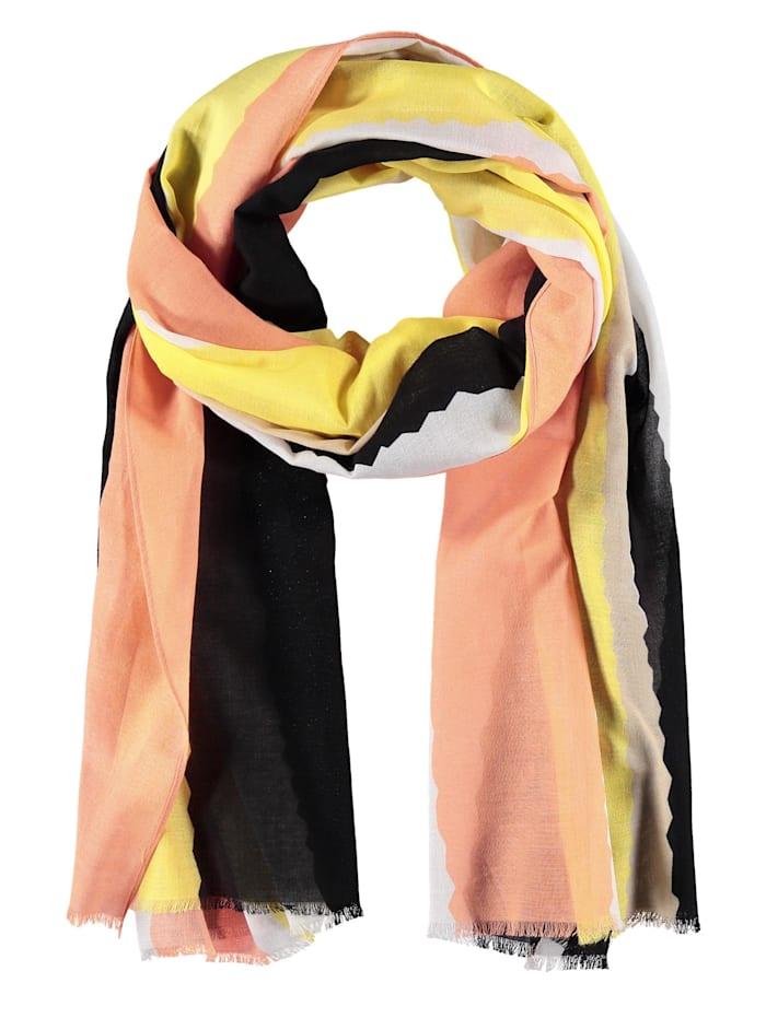 taifun - Schal aus Baumwoll-Voile  Papaya gemustert
