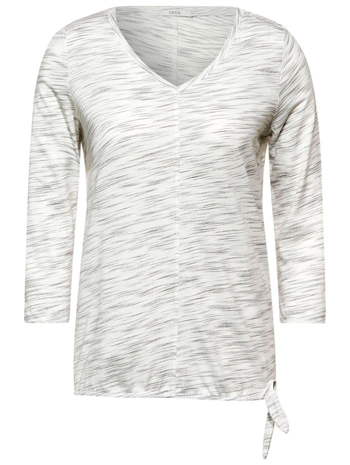 cecil - Shirt in Melange Optik  off white melange