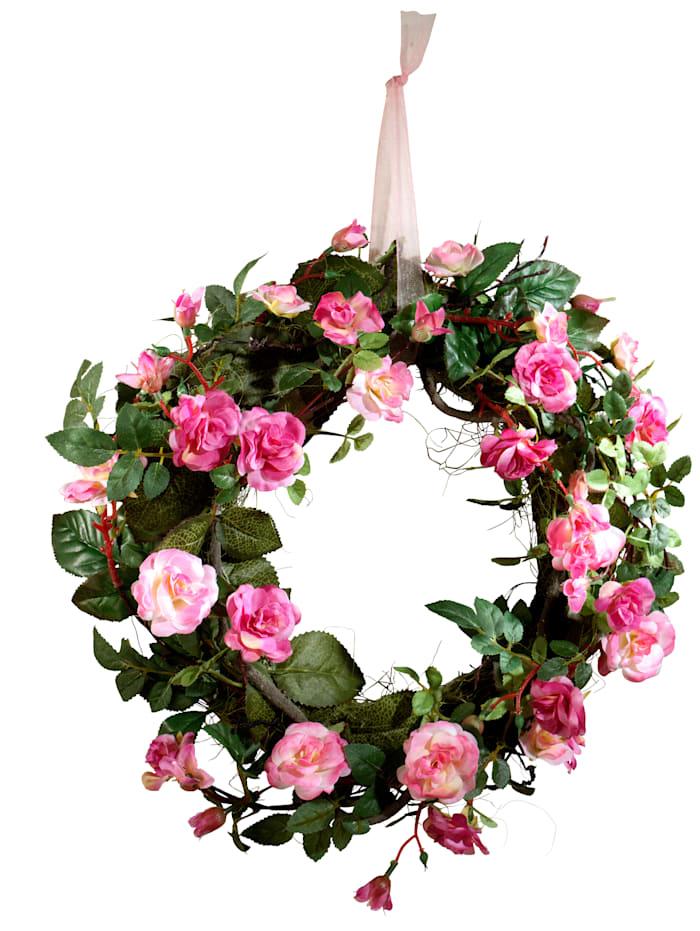 Krans 'Wilde roos' IGEA roze