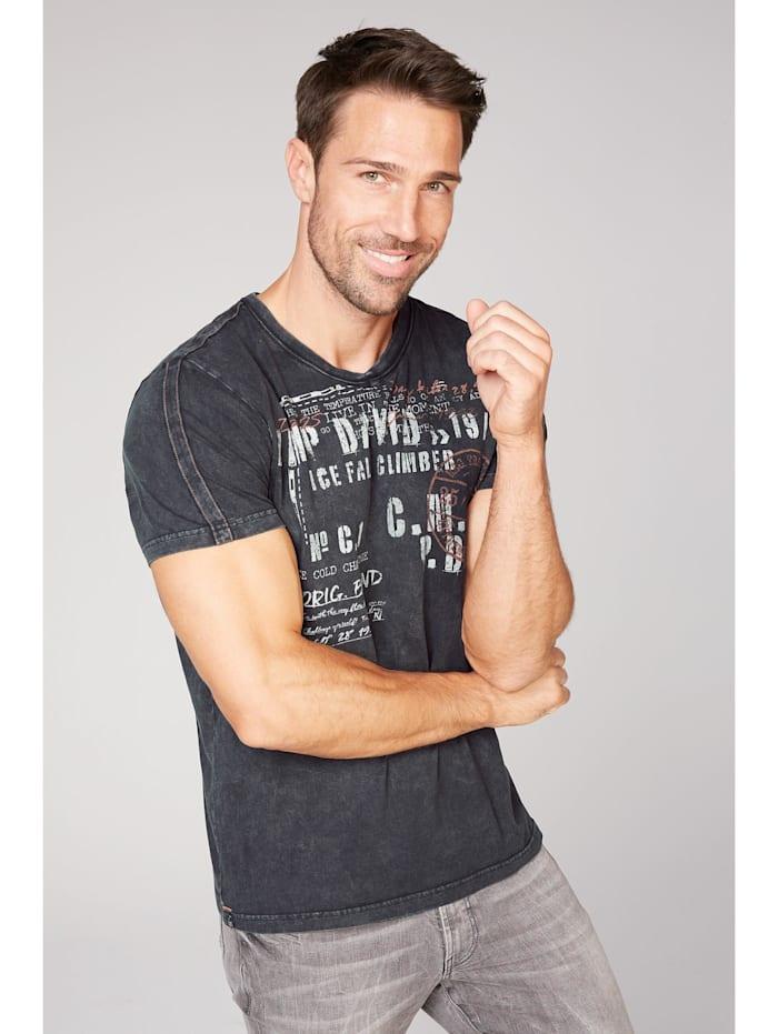 camp david - T-Shirt mit V-Neck und Used-Optik  ebony