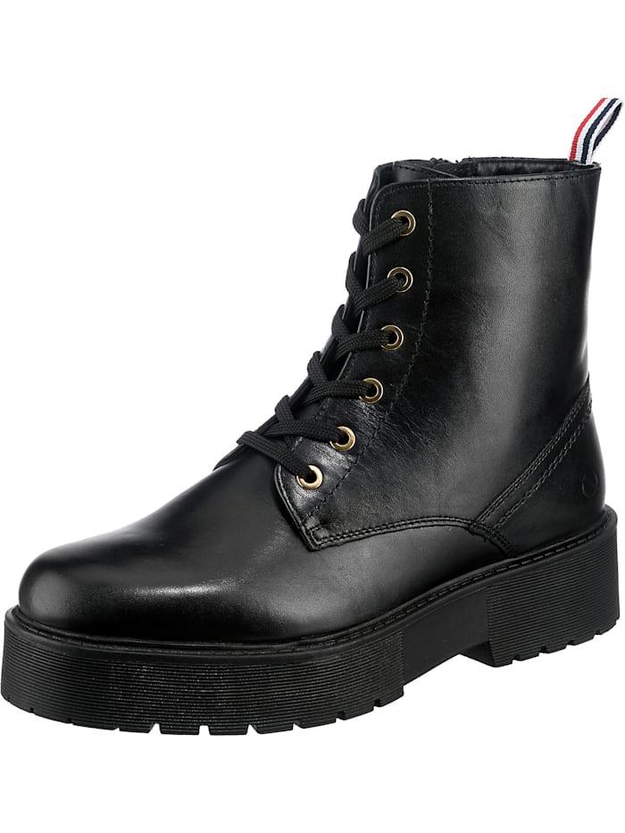 paul vestebro - Echtleder Plateau Boot Schnürstiefeletten  schwarz