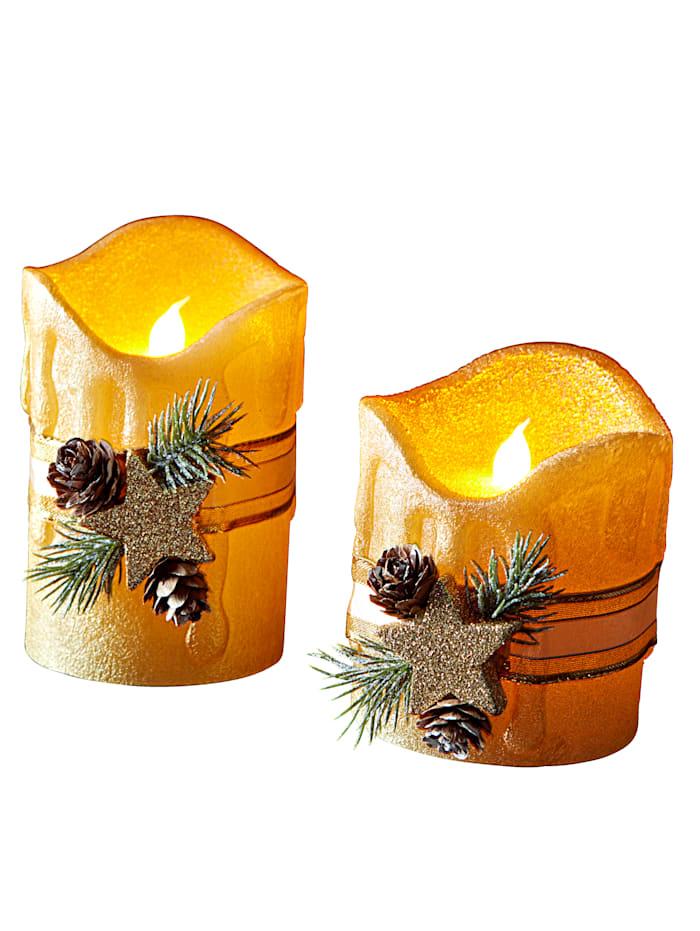 Set van 2 led kaarsen Tewa goudkleur