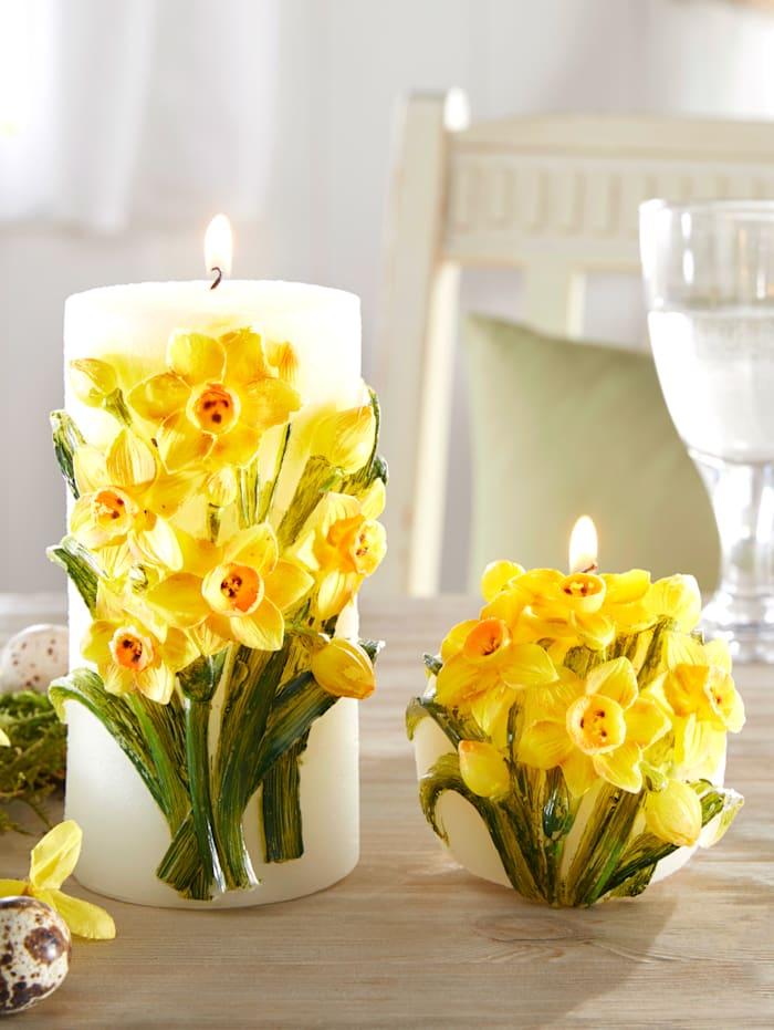 Set van 2 kaarsen Tewa Geel