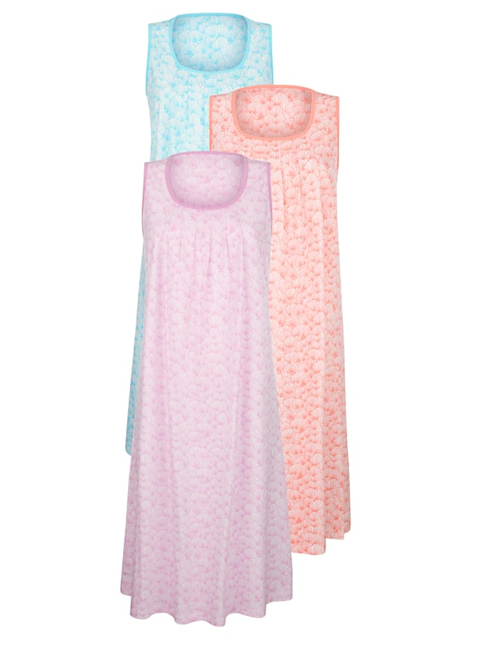 Nachthemden per 3 Harmony Lichtroze::Turquoise::Apricot
