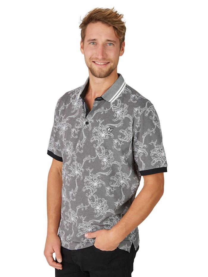 Pikee-Poloshirt mit tollem Alloverdruck Hajo schwarz