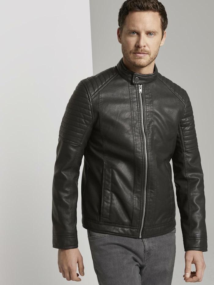 tom tailor - Bikerjacke mit Stehkragen aus Lederimitat  Black
