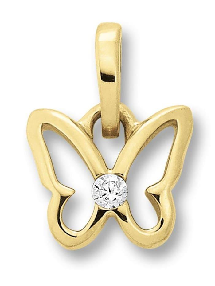 one element - Damen Schmuck Anhänger Schmetterling aus 333 Gelbgold Zirkonia  gold