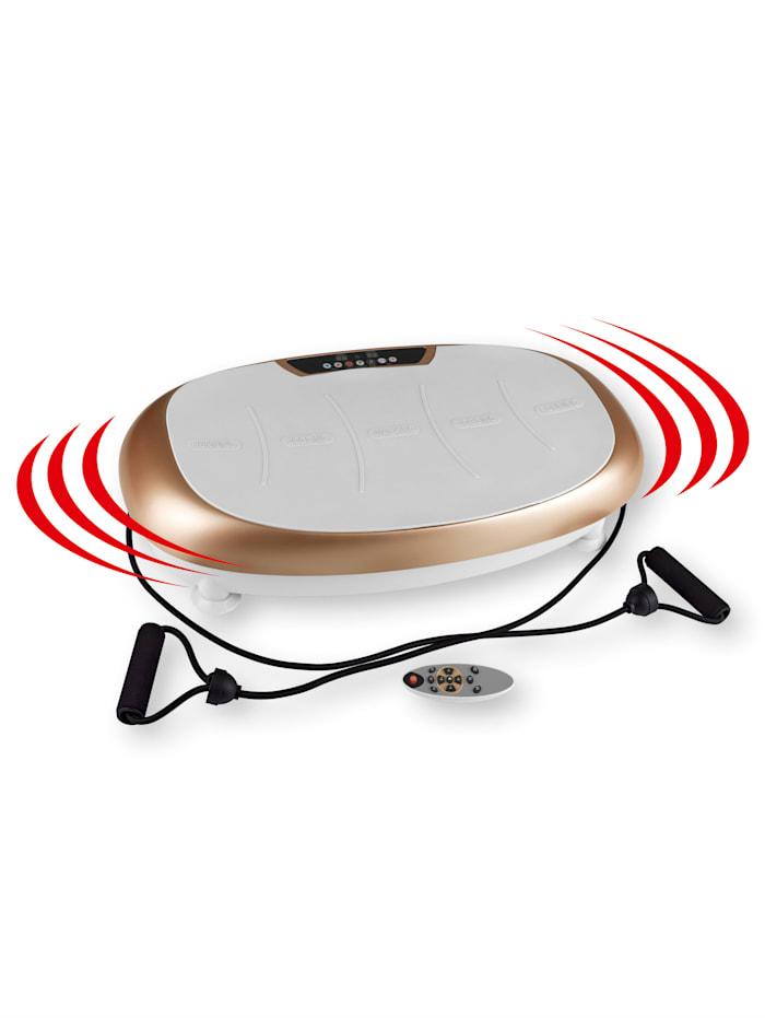 VITALmaxx Ganzkörper-Vibrationstrainer mit Expanderbändern Vitalmaxx weiß/champagner