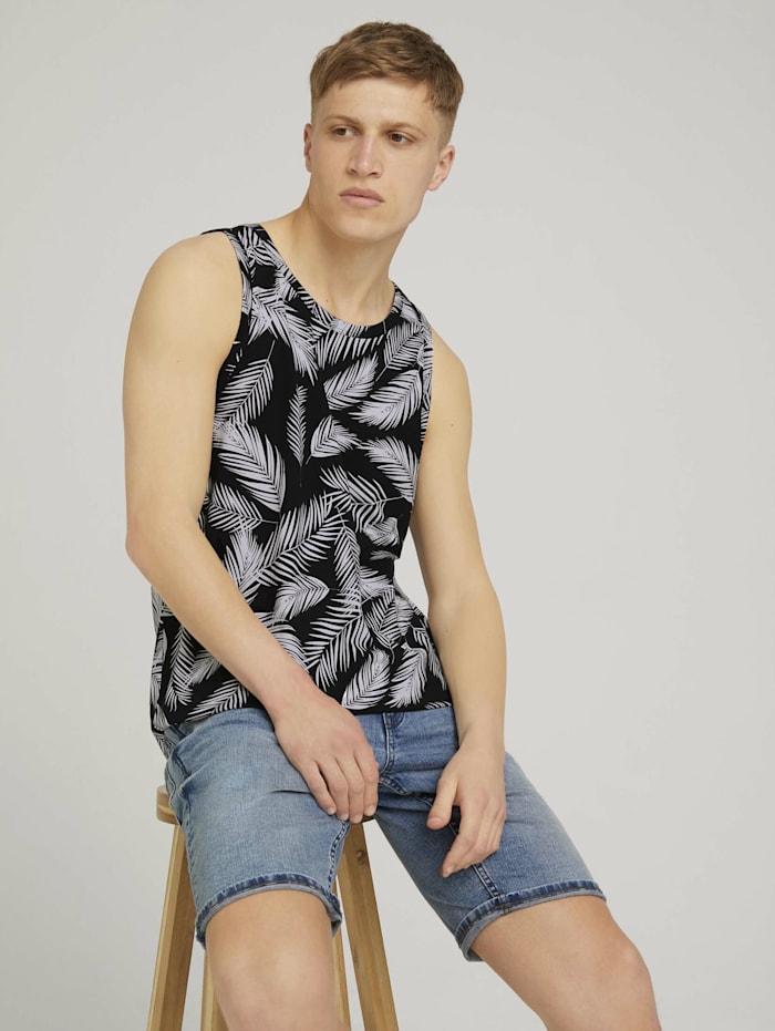 tom tailor denim - Tanktop mit Palmenprint  black white palm leaves print