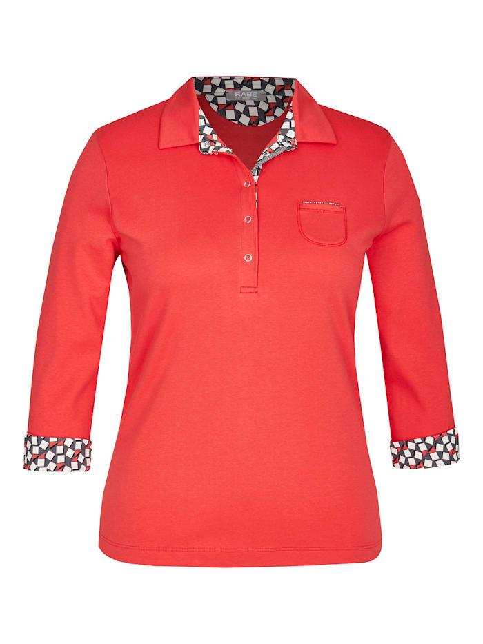 rabe - Shirt mit Polokragen und Kontrastverarbeitung  CHILI