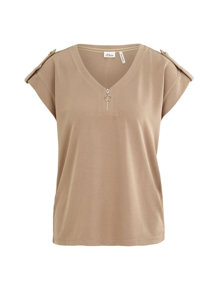 s. oliver junior -  Shirt Shirt mit Reißverschluss-Det  Beige