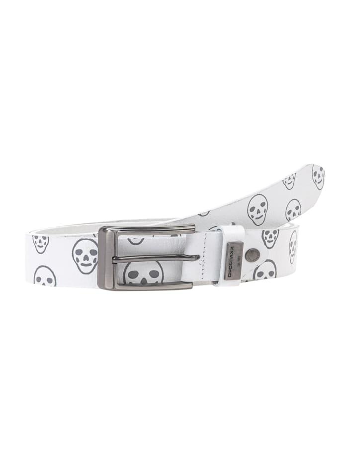 cipo & baxx - Ledergürtel mit modischem Totenkopf-Muster  White
