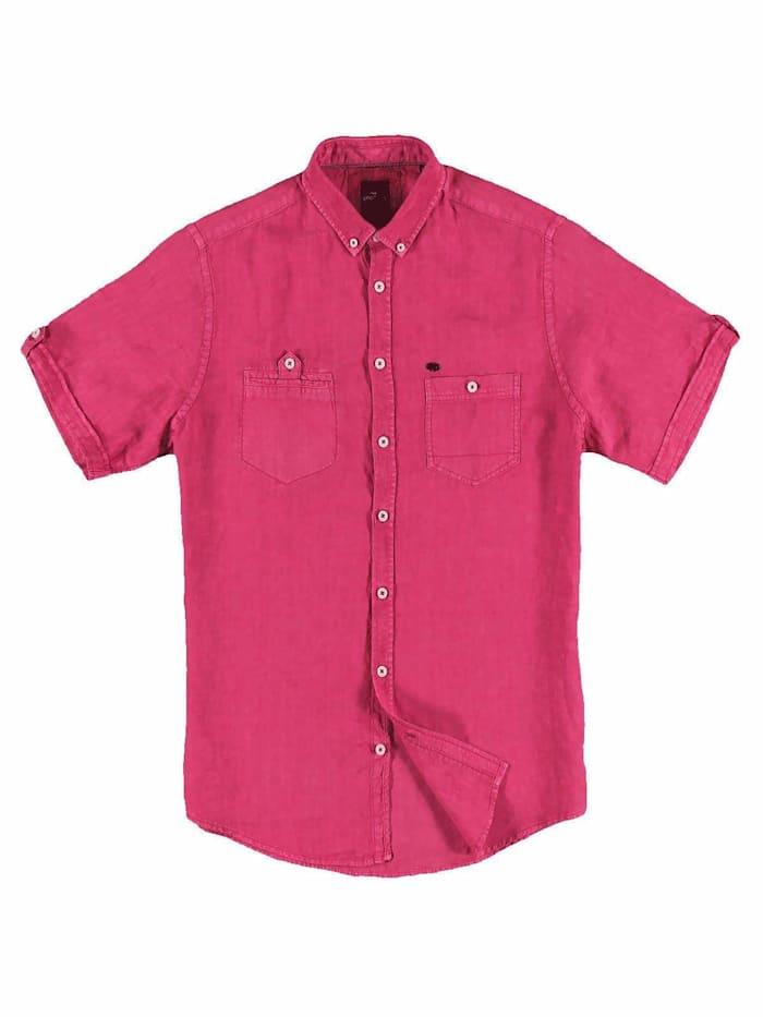 engbers - Kurzarm-Hemd aus Leinen  Magenta