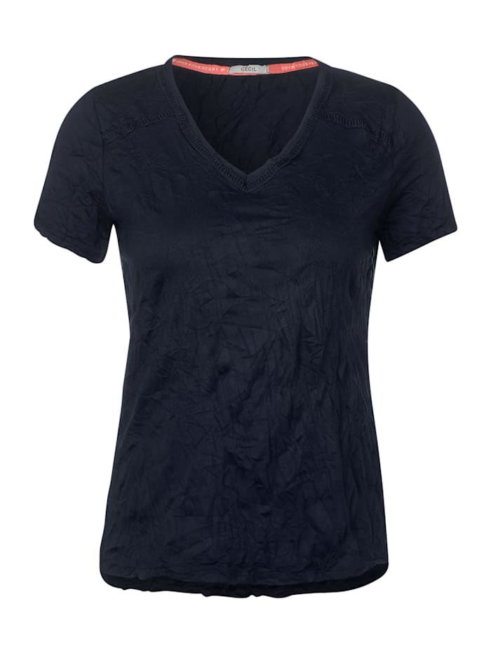 cecil - T-Shirt mit Crash-Effekt  deep blue