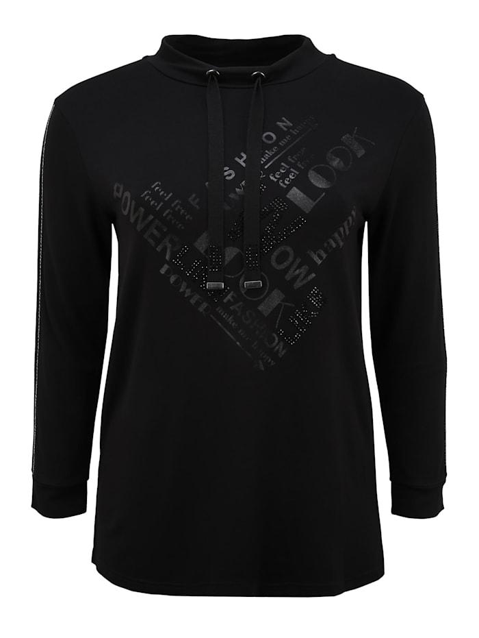 doris streich - Langarmshirt Kragen Shirt  schwarz