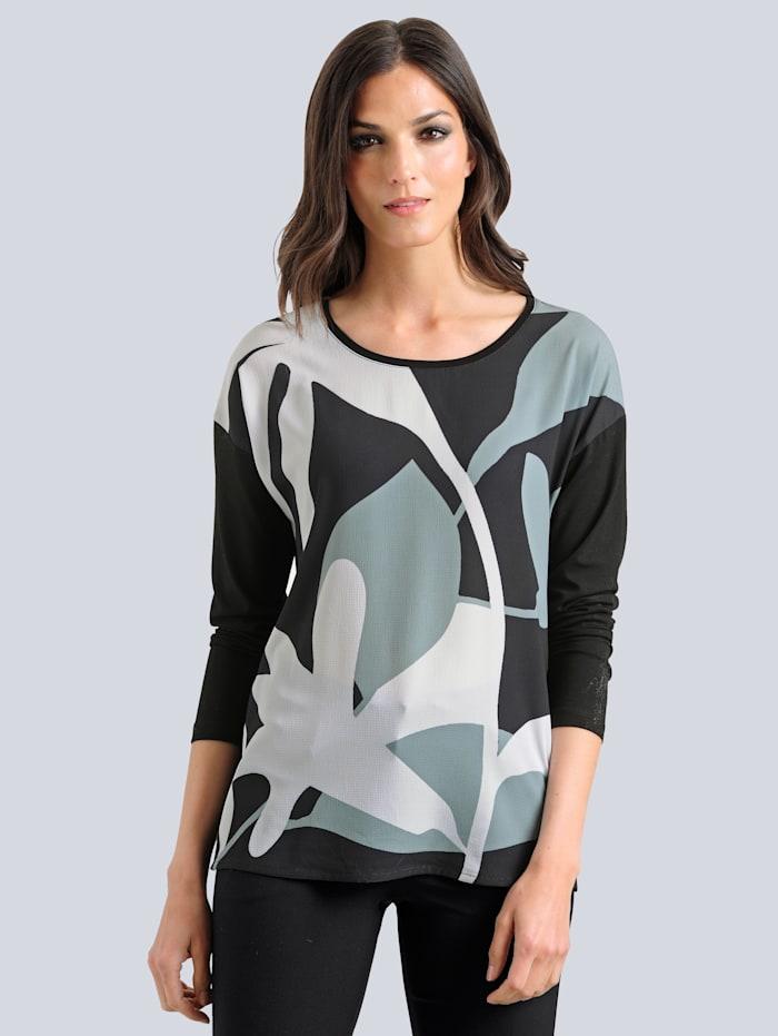 Shirt Alba Moda Zwart::Salie::Wit