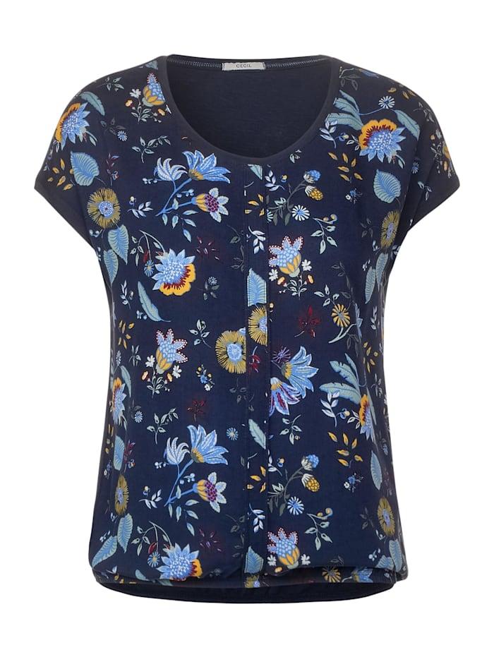 cecil - T-Shirt mit Blumenmuster  deep blue